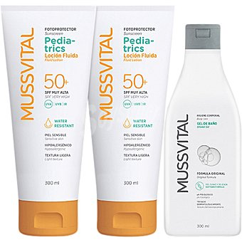 Mussvital pediatrics Fotoprotector loción fluida SPF 50+ infantil para piel sensible Pack 2 uds 300 ml