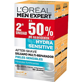 L'Oréal MEN EXPERT Hydra Sensitive After shave bálsamo multi-reparador para piel sensible pack 2 frasco 100 ml (pack precio especial 2ª unidad al 50%) Pack 2 frasco 100 ml