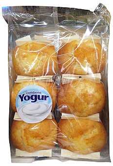 Hacendado Magdalena cuadrada industrial con yogur Paquete 6 u (200 g)