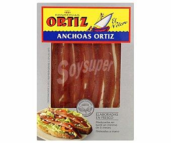 Conservas Ortiz Filetes de anchoas en aceite de oliva Bandeja de 40 g neto escurrido