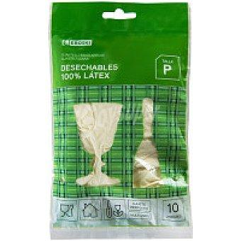 Eroski Guantes latex satinados talla pequeña Paquete 10 unid