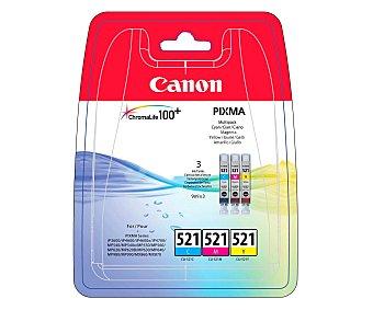 Canon Pack de cartuchos de tinta CLI-521, cian, magenta y amarillo, compatible con impresoras: iP3600 / iP4600 / iP4700 / MP540 / MP550 / MP560 / MP620 / MP630 / MP640 / MP980 / MP990 / MX860