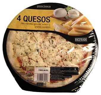 Hacendado Pizza fresca 4 quesos (emmental,mozarella,grana,cheddar) u 410 g