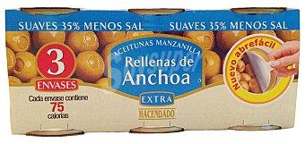 Hacendado Aceituna rellena anchoa suave Lata pack 3