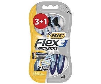 Bic Cuchilla desechable con triple hoja, Flex 3 Cmofort 4 unidades