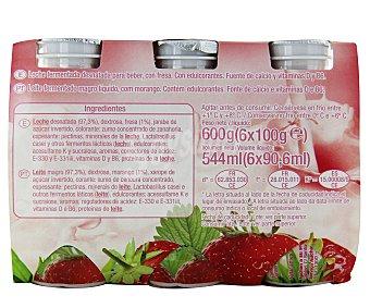 Auchan Yogur l casei 0% materia grasa con sabor a fresa 6 unidades de 100 gramos