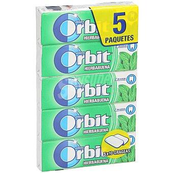 Orbit Chicle grageas sabor hierbabuena Pack 5 x 10 unidades (50 grageas)