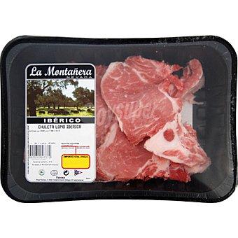 LA MONTAÑERA Chuletas de lomo de cerdo ibérico Bandeja 500 g peso aprox.