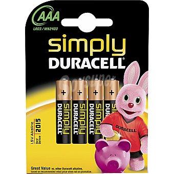 Duracell Pila básica alcalina AAA (lr03 - mn2400) 14,5 voltios blister 4 unidades