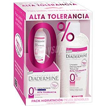 Diadermine Pack hidratación con crema de día & noche Alta Tolerancia para piel sensible & irritable + limpiador desmaquillante en gel
