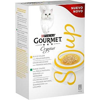 Gourmet Comida para gatos húmeda sabor a pollo, natural Soup 4 uds. 40 g