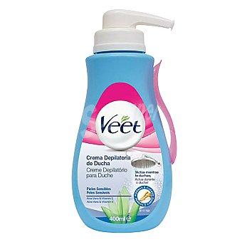 Veet Crema depilatoria de ducha con aloe vera y vitamina E piel sensible Dosificador 400 ml