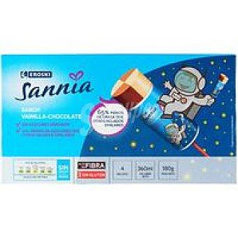 Eroski Sannia Helado infantil de vainilla-choco Pack 4x90 ml