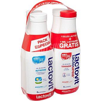 LACTOVIT gel de baño nutritivo con doble de vitaminas y proteínas de la leche  pack 3 bote 600 ml