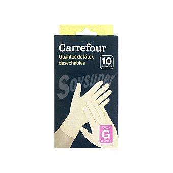 Carrefour 10 Guantes desechables de Látex G - Blanco 10 ud