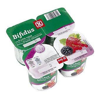 DIA Yogur bífidus con frutos rojos 0% Pack 4 unidades 125 g