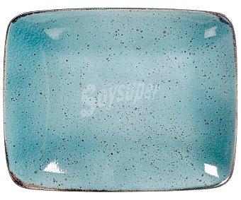 STONEWARE Mimosa Fuente rectangular fabricada en loza color azul, 29x23cm., Mimosa stoneware.