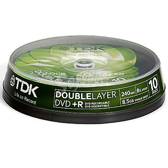 TDK Tarrina 10 Dvd+r Doble Capa 8,5 GB