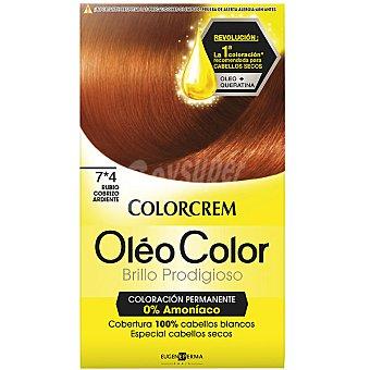 Colorcrem Tinte óleo Color Rubio Cobrizo Ardiente nº 7.4 coloración permanemte sin amoniaco Caja 1 unidad