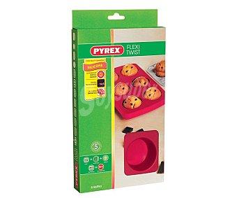 PYREX Bandeja molde fabricado en silicona con capacidad para 6 magdalenas modelo Flexi Twist 1 unidad