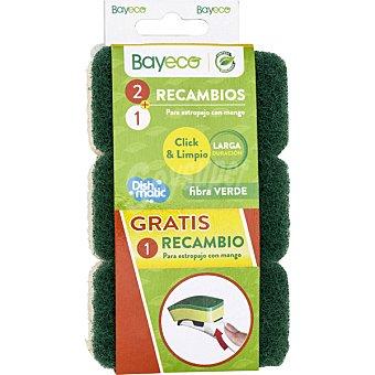 Bayeco Recambio para estropajo fibra verde con mango  envase 2 unidades