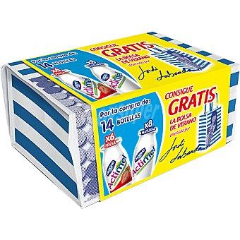 Danone Actimel Yogur líquido pack 6 unidades sabor fresa + 8 unidades natural pack 14 unidades 100 g con regalo bolsa de verano de Jordi Labanda Pack 6 unidades