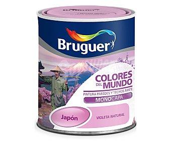 BRUGUER Pintura plástica monocapa de interior, de color violeta natural Japón, de la serie colores del mundo 0,75 litros