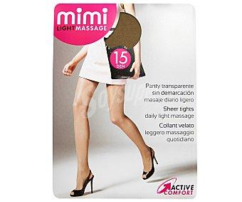 MIMI Light massage Panty de 15 Den transparente, color bronce, talla M