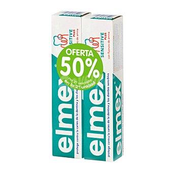 ELMEX Dentífrico Sensitive protección contra la caries y los dientes sensibles 2 unidades de 75 ml
