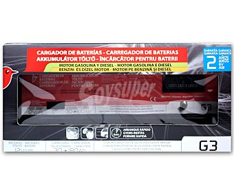 Auchan Cargador de baterias de 12V con capacidad de carga de 30 a 180 Amperios hora y función de carga lenta con interruptor 1 unidad