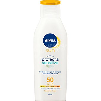 Nivea Sun Protect & Sensitive leche solar FP-50 para piel sensible resistente al agua Frasco 200 ml