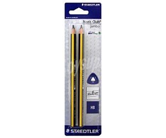 Staedtler Lote de 2 lápices de grafito, con cuerpo triangular extra-ancho de color amarillo y negro y dureza HB, triplus jumbo 1 unidad