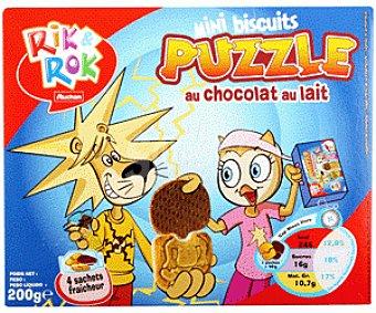 Rik&Rok Auchan Galletas Mini Puzzle Rellenas de Chocolate 200 Gramos