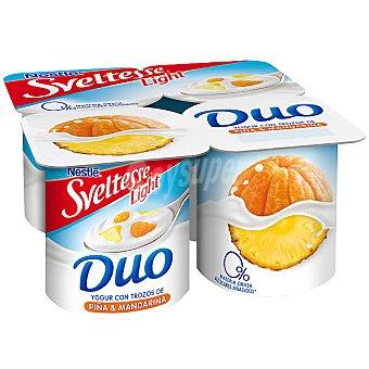 Sveltesse Nestlé Yogur Duo desnatado 0% con trozos de piña y mandarina Pack 4 unidades 125 g