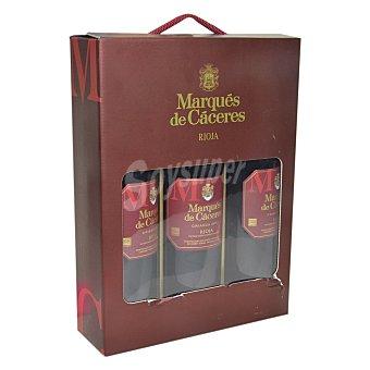 Marqués de Cáceres Estuche de vino D.O. Rioja tinto crianza Pack 3x75 cl
