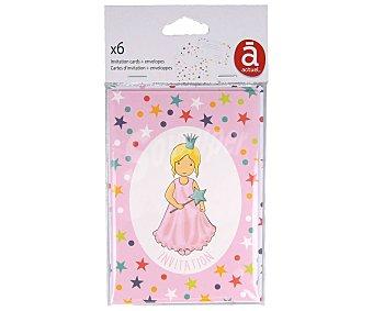 Actuel Pack de 6 invitaciones con diseño Princesa, incluye sobres, ACTUEL. Pack de 6