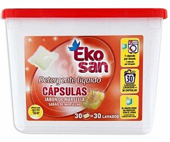 EKOSAN Detergente lavado a máquina Marsella en cápsulas 30 Dosis