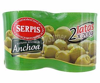 SERPIS aceitunas rellenas de anchoa pack 2 latas 85 g