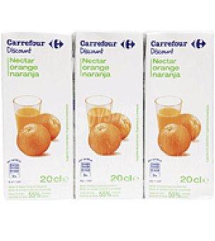Carrefour Discount Néctar de naranja Pack de 3 brick de 20 cl