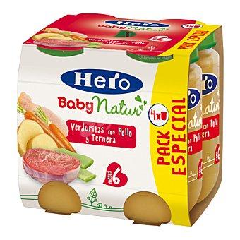 Hero Baby Natur Tarrito de verduritas con pollo y ternera Pack 4x235 g