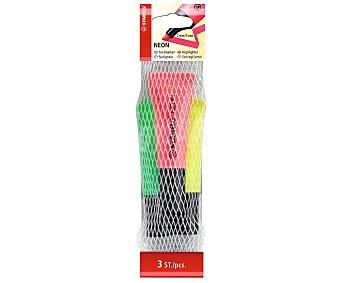 Stabilo Lote de 3 marcadores fluorescentes con punta biselada, grosor de trazado de 2 a 5 milímetros y de colores amarillo, verde y rosa neón 1 unidad