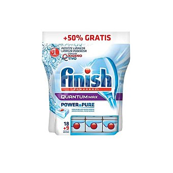 Finish Lavavajillas power&pure quantum 18+9 pastillas