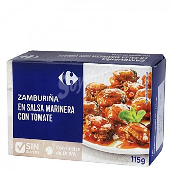 Carrefour Zamburiñas en salsa marinera con tomate con aceite de oliva sin gluten 115 G 115 g
