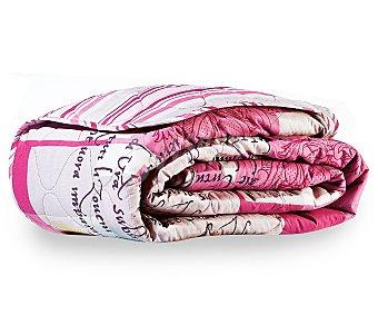 Auchan Boutí acolchado con estampado floral en tonos rosas para cama doble, 135-150 centímetros 1 unidad