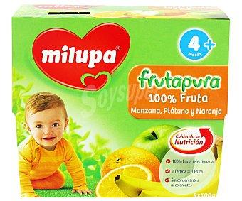 Milupa Tarrito Frutapura manzana, plátano y naranja Pack de 4x100 g