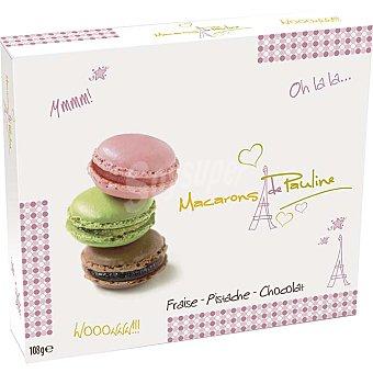 Macarons de Pauline Galletas rellenas de fresa, pistacho y chocolate Estuche 108 g