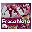 Cono helado nata fresa Pack 6 x 120 ml  Hacendado