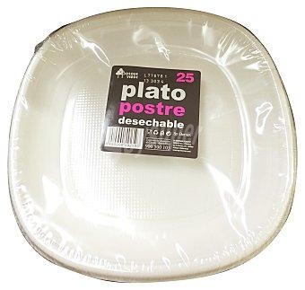 Bosque Verde Plato desechable plastico postre 175 mm blanco 25 u