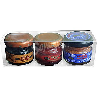 Eurocaviar Huevas de mujjo'l negro, rojo y salmón pack 3 2x28 g + 1 frasco x 25 g