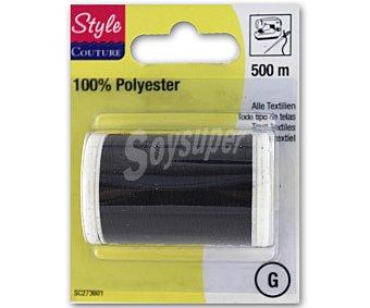 STYLE Hilo de poliéster color negro, 500 metros 1 Unidad